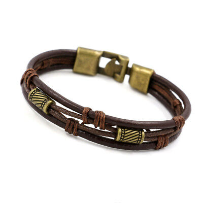 Fashion Bracelet Multilayer Genuine Leather Handmade for Man Woman Wristband New