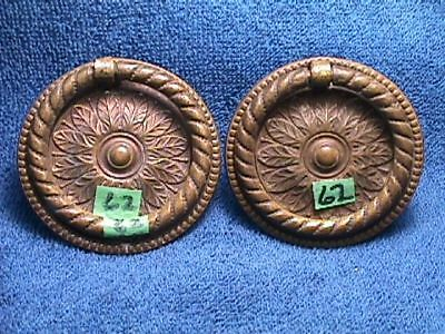 2 MATCHING Vintage BRASS Victorian ORNATE Nouveau ROUND Drawer BACKPLATES +PULLS