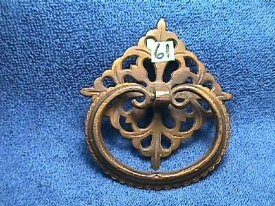 Vintage BRASS Victorian ART Nouveau LARGE and ORNATE Drawer BACKPLATE+PULL (61)