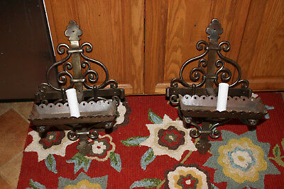Vintage Mission Gothic Wrought Iron Wall Sconce Candle Holders-Pair-Large