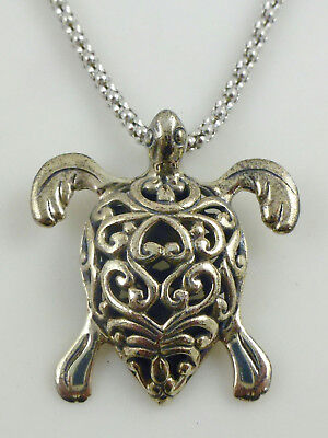 Sterling Silver Filigree Turtle Pendant Chain Necklace