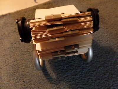 """Rolodex 5024X Black Rotary File Metal Stand with 2 1/4"""" x 4"""" Address Cards USA"""