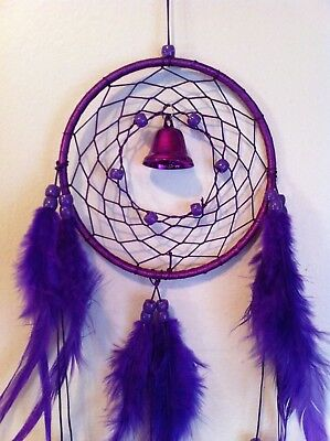 "Cherokee Handmade 21"" Dream Catcher Purple Violet Beads, Feathers, Bell"