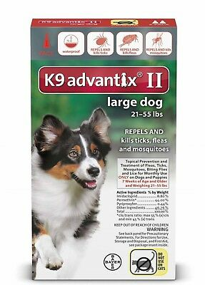 K9 Advantix II  Flea & Tick Treatment For Large Dogs 21-55 lb's 1 Month Supply