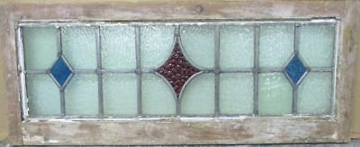 "LARGE OLD ENGLISH LEADED STAINED GLASS WINDOW Simple Diamond 32.25"" x 13.25"""
