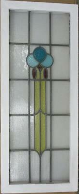 "LARGE OLD ENGLISH LEADED STAINED GLASS WINDOW  Cute Geometric 18.25"" x 44"""