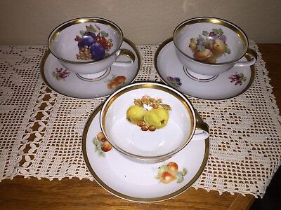 Vintage Tea Cups and Saucers Lot of Three Bavaria Germany Orchard Pattern