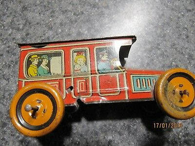 Chein Tin Lithograph Wind Up Taxi Cab  1920S  As Is