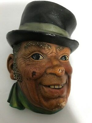 VTG Chalkware Dickens Collection Bossons Legend England Wall Sculpture Black Hat