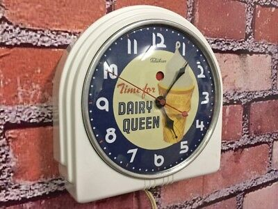 Vtg Antique Telechron-Ge Dairy Queen-Ice Cream Parlor-Diner-Cafe Wall-Clock Sign
