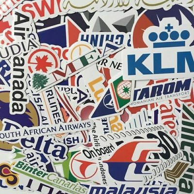50pcs Airline Travel Logo Stickers Luggage Sticker Scrapbook World Tourist Decal