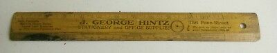 Old J.George Hintz Office Supplies & Stationary early wood ruler Reading PA