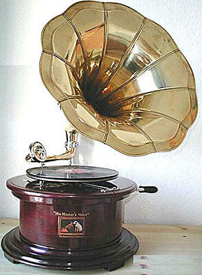 GRAMOPHONE Phonograph Brass Horn WORKING SOUND BOX WITH NEEDLE FREE PP