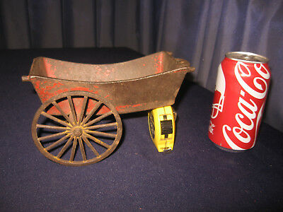 "Antique Cast Iron Hay wagon w 3 3/4"" wheels Fire Heavy Red Paint No Breaks"