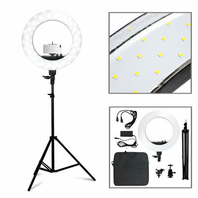 "50W 240PCS LED 18"" Outer Ring Light 5500K Dimmable+Universal Adapter Plug"