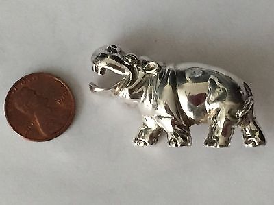 Happy Smiling Sterling Silver Hippo Brooch Pin by D'Molina Taxco Mexico 1 7/8""
