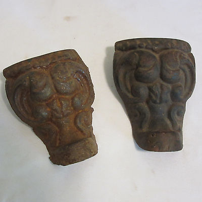 2 Vintage Antique Cast Iron Gargoyle Gothic Bath Tub Feet Clawfoot Tub Original