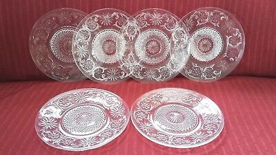 Vintage Lot 6 Clear Anchor Hocking Sandwich Glass Cake, Dessert Plates 6""
