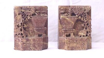2 Vintage Old Ornate Brown Soapstone Bookends With Leaves & Flowers In Vase