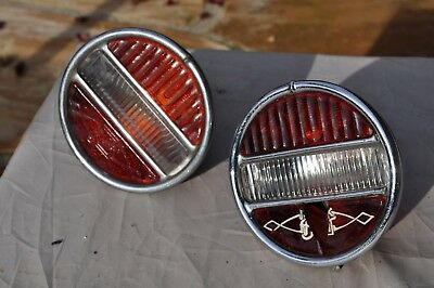 2 Vintage 1929-30 Buick TRILITE tail lights with STOP red glass