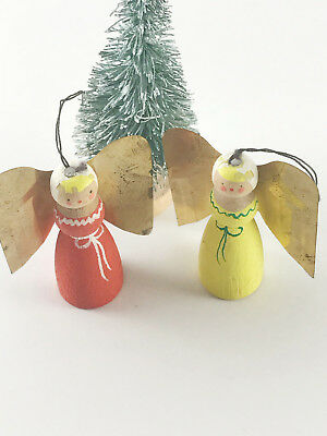 Lovely Vintage Angel Pair/Lot Hand Painted Brass Wings Erzgebirge Style Ornament