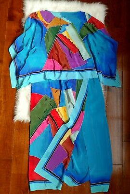 VINTAGE 1970s Saks Fifth Avenue Skirt Set Silk Crepe Sarong Poncho Geometric
