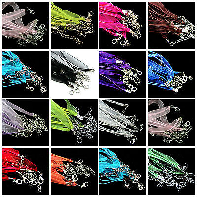 Lots 5/10Pcs Organza Voile String Ribbon Cord Necklace Lobster Clasp Chain 48CM