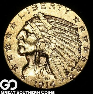 1914-D Half Eagle, $5 Gold Indian ** Free Shipping!