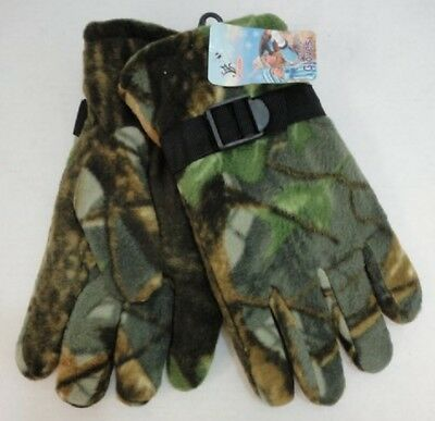 1 Pair Mens Hardwood Camo Thick Warm Winter Fleece Gloves w/ Adjustable Strap