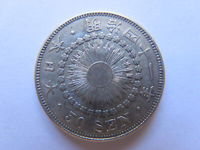 1908 JAPAN 50 SEN SILVER COIN in EXCELLENT CONDITION I THINK 1908