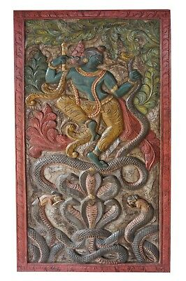 Indian Vintage Door Panel Hand Carved Krishna Wall Hanging YOGA Conscious Decor