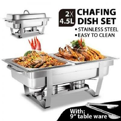4.5Lx2 Bain Marie Buffet Food Heating Warm Serving Chafing Double Dish Tray Pan