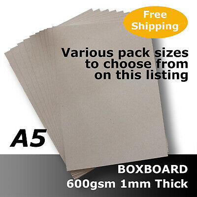 BoxBoard Backing Card ChipBoard 600gsm 1mm A5 Grey 100% ReCycled #B1305