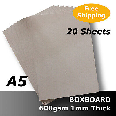20 x BoxBoard Backing Card ChipBoard 600gsm 1mm A5 100% ReCycled #B1305 #D1