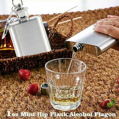 Portable 1oz Mini Stainless Steel Hip Flask Alcohol Flagon with Keychain ring