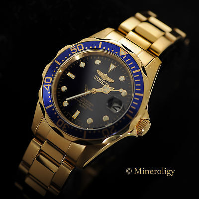NEW Invicta Pro Diver Dark Blue Dial 18k GOLD Plated Stainless Steel Mens Watch