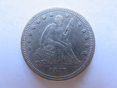 1877 USA LIBERTY SEATED SILVER QUARTER in VERY NICE COLLECTABLE CONDITION