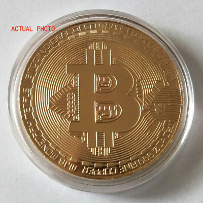 Bitcoin Gold Plated Physical Commemorative Bitcoin In Protective Acrylic Case