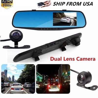 "4.3"" HD 1080P In-Car Rear View Mirror Dash DVR Recorder Dual Lens Camera"