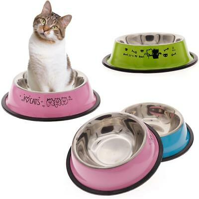 Trendy Pet Stainless Steel Bowl Dog Anti-skid Food Water Dishes Feeding Tool BC#