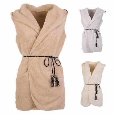 Winter Women Berber Fleece Hooded Waistcoat Warm Sleeveless Vest Coat Jacket USA