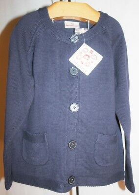 NWT HANNA ANDERSSON - NAVY BLUE Cardigan Sweater - 100% Organic Cotton - 120 6-7