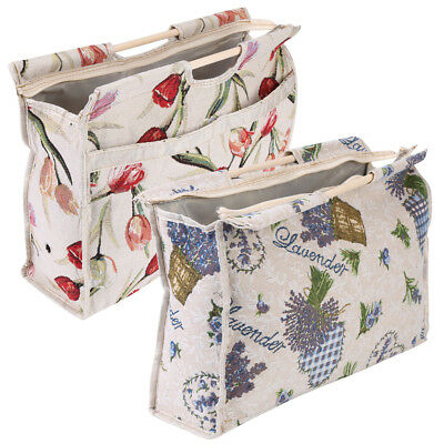 Practical Wood Handle Woven Fabric Storage Tote Bag Knitting Needles Sewing Tool