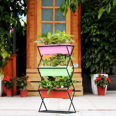 3 Tier Metal Folding Plant Stand Garden Planter Flower Pot Stand Display I3V2