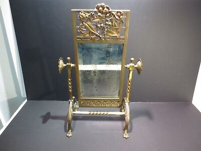 Antique Victorian brass shaving cheval mirror stand  bevelled glass  NO RESERVE