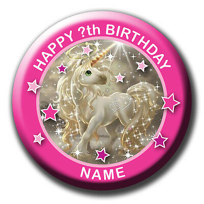 Personalised Gold Glitter Unicorn Birthday Badges / Magnet / Mirror Gift