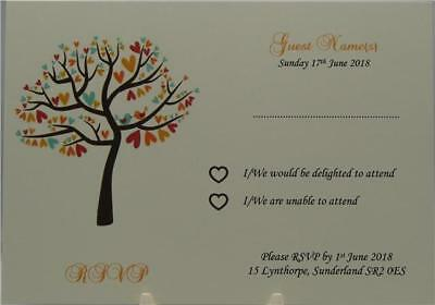 Personalised Ivory Wedding RSVP Inserts Tree And Love Bird Design In 15 Colours