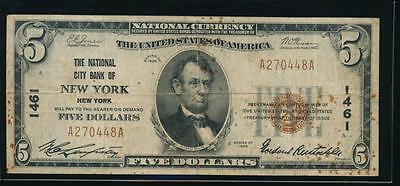 AC 1929 Type I $5 The National City Bank of New York, NY ch# 1461