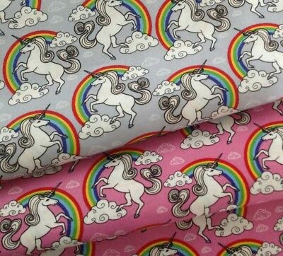 Unicorn & Rainbows 100% Cotton Fabric Grey, Pink & White  Children
