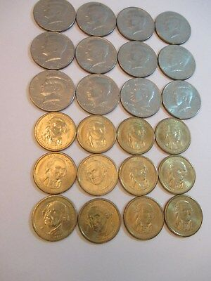 Lot of Kennedy Coins and Gold Presidents Gold Coins  1960's -1970's -1779-1789
